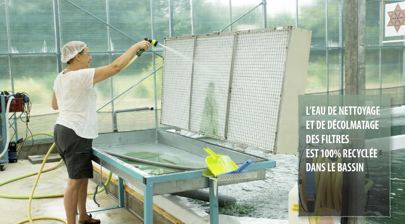 L'eau de nettoyage et de décolmatage des filtres est 100% recyclée dans le bassin.