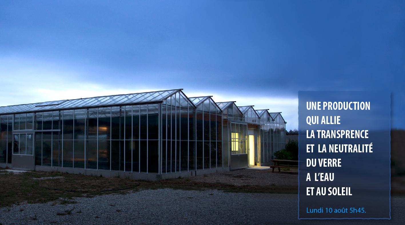 Une production qui allie la transparence et la neutralité du verre à l'eau et au soleil